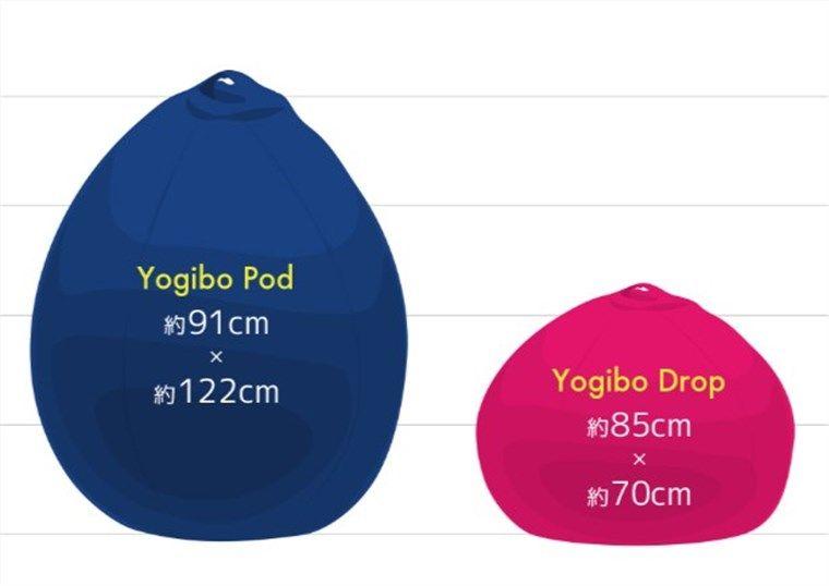 ヨギボードロップ、ヨギボーポッド大きさ比較