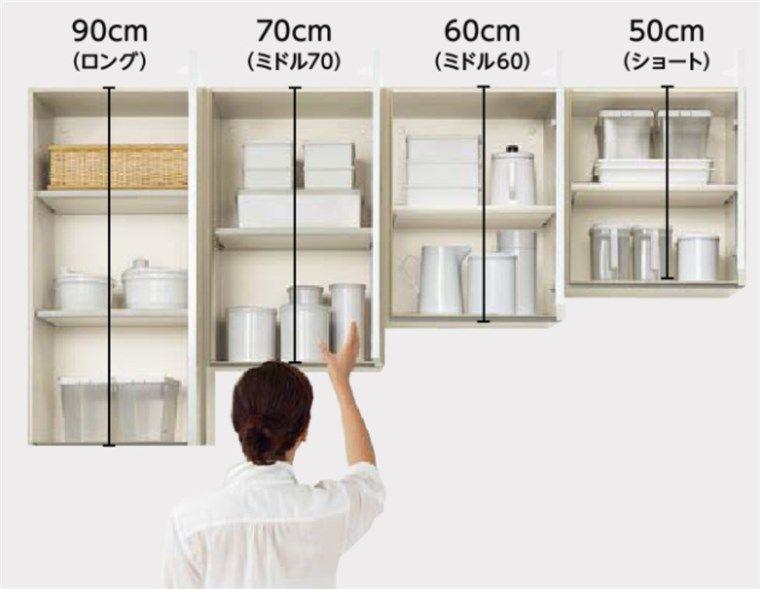 キッチンの吊戸棚の高さ